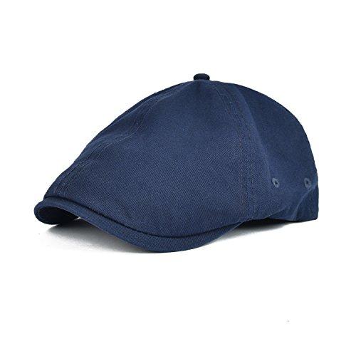VOBOOM Cotton Washing Flat Cap Cabbie Hat Gatsby Ivy Irish Hunting Newsboy (Navy)