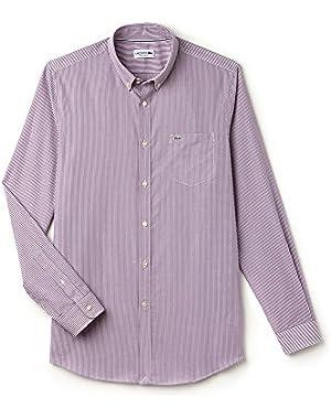 Lacoste Men's Purple Striped Men's Long Sleeve Shirt in Size 40-M Purple