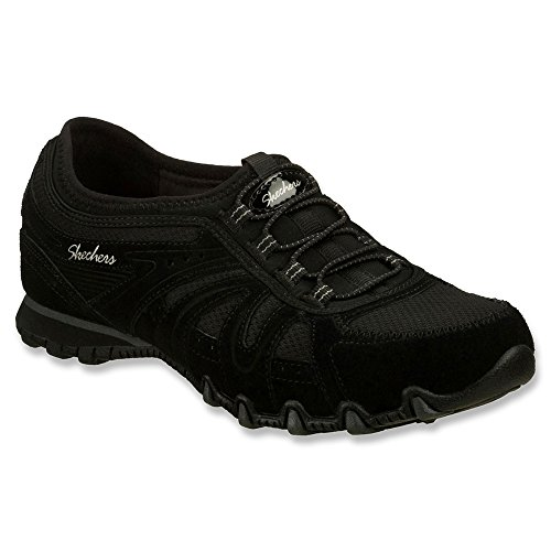 Skechers Women's Relaxed Fit Bikers Round Trip Bungee Laced Sneaker Black 7 M US