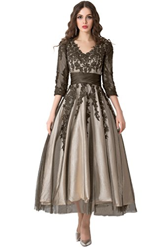 Formal Sleeves V Evening Champagne Affordable Length Gown Brown Prom Tea Dress Sunvary neck and nF6qxwH