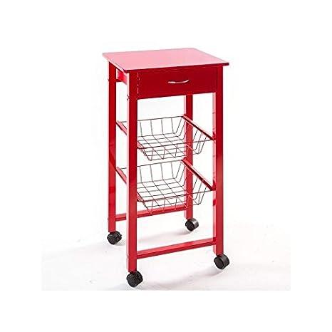 JJA 114234A - Carrito y mesa auxiliar para cocina 2 en 1 (metal y madera), color rojo: Amazon.es: Hogar