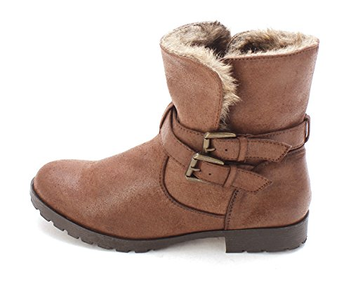 Just Fab Womens Alyssa Closed Toe Ankle Cold Weather Boots  Brown  Size 6 0