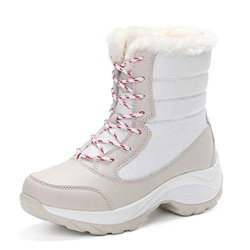 Mujeres Snow Boots Tall Bootie punta redonda con cordones costura caliente Color Match senderismo zapatos impermeables antideslizantes al aire libre Casual Sport Shoes Eu tamaño 35-41 Beige