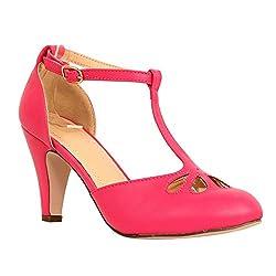 Chase Chloe Kimmy 36 Women S Teardrop Cut Out T Strap Mid Heel Dress Pumps 10 Fuchsia Pu
