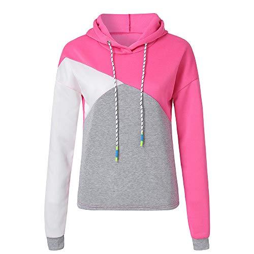 Pink Absolute autunno cappuccio lunga ❤️ Hot fiammato donna Felpa con Camicetta manica colore q7wvBFxA