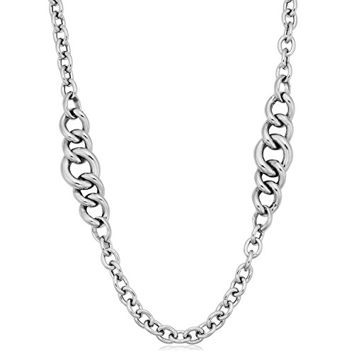 (Sterling Silver Graduated Curb Link Station Necklace (36 inch))