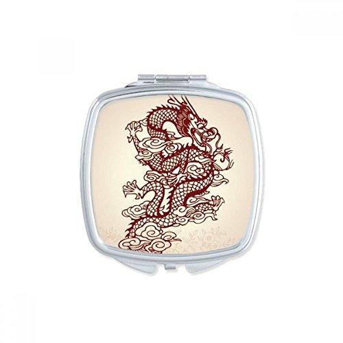 Dragón chino Animal retrato cuadrada compacta maquillaje espejo de bolsillo portátil lindo pequeños espejos de mano regalo