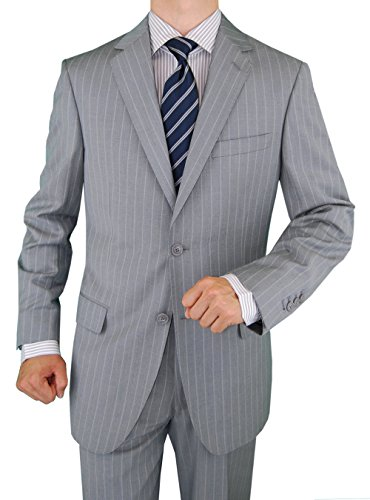 Valentino 2 Piece - Gino Valentino Two Piece Mens Suit 2 Button Jacket Flat Front Pants Stripe (44 Short US / 54S EU/W 38