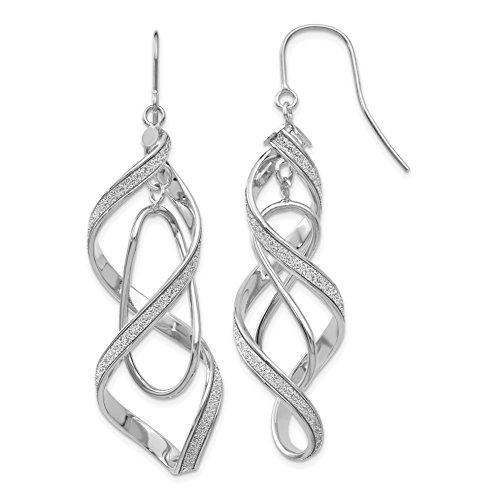 ICE CARATS 14k White Gold Glitter Infused Spiral Drop Dangle Chandelier Earrings Fine Jewelry Gift Set For Women Heart