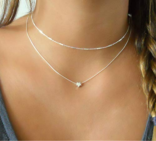 (Silver Necklace Set Of 2 - Silver choker & Silver Star Necklace - 925 Sterling)