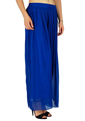 Femmes Bimba Évasées Palazzo Bleu Large Jupe Style Pantalon Long Jambe Les À Plissé De pUwTU