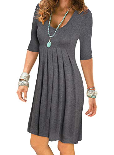 (Women's Grey Half Sleeve Empire Waist Plain Pleated Loose Swing Casual Dresses Knee Length)