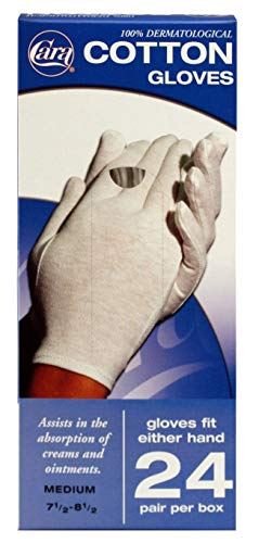 Cotton Lined Rubber Gloves - CARA Moisturizing Eczema Cotton Gloves, Medium, 24 Pair