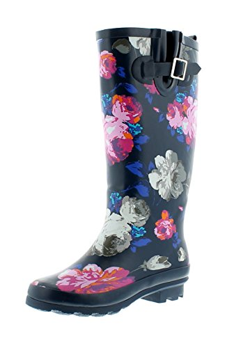 New Ladies/Womens Wider Fit Rubber Wellington Boots in Floral Print - Navy Floral - UK Sizes 3-8