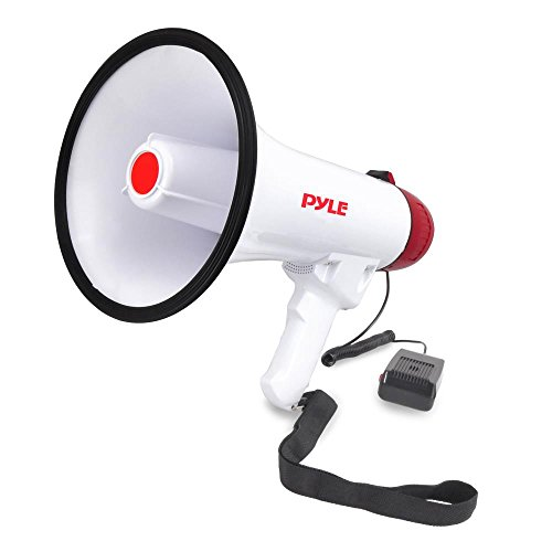 (Pyle Megaphone Speaker PA Bullhorn W Built-in Siren - Adjustable Volume, 800 Yard Range - Ideal for Football, Soccer, Baseball, Hockey, Basketball Cheerleading Fans, Coaches, Safety Drills)
