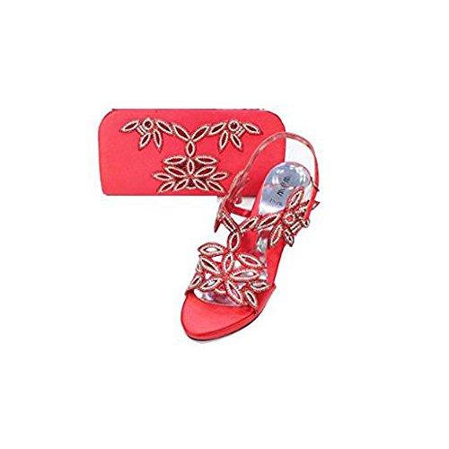 Hochzeit Tasche Komfort Schuhe Rot Diamante Sandale Frauen Wear Mode Walk mit Braut Damen Plattform UK Passender Abend q0RAvZ
