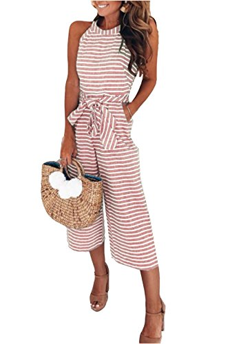 MarcoJudy Women Sleeveless Striped Waist Belted Wide Leg Capri Pants Jumpsuit Pink -