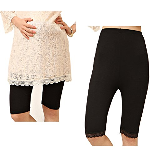Liang Rou Maternity Ultra Thin Stretch Short Leggings Plain Black