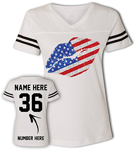 Kissing Lips - Custom 4th of July T Shirts & Jerseys - Patriotic American Flag Outfits for (Jersey Striped Onesie)