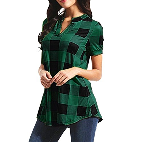 Sunhusing Ladies Casual Plaid Print V-Neck Short-Sleeve Women Loose Irregular Hem Shirt