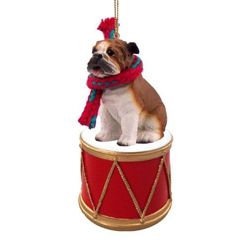 Little Drummer Bulldog Christmas Ornament - Hand Painted - Delightful