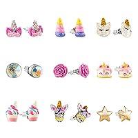 Hypoallergenic Earrings Set for Little Girls, Children's Colorful Cute Unicorn Earrings for Kids