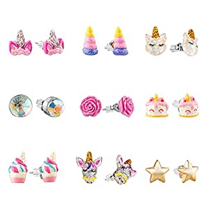 Hypoallergenic Earrings Set for Little Girls, Children's Colorful Cute Unicorn Earrings for Kids