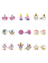 Hypoallergenic Earrings Set for Little Girls, Children's Colorful Cute Unicorn Earrings for Kids …