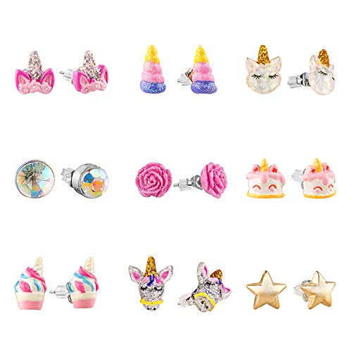 SkyWiseWin Hypoallergenic Earrings Set for Little Girls, Children's Colorful Cute Unicorn Earrings for Kids