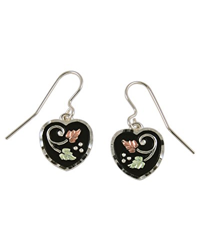 Antiqued Heart Earrings, Sterling Silver, 12k Green and Rose Gold Black Hills Gold Motif by The Men's Jewelry Store (for HER)
