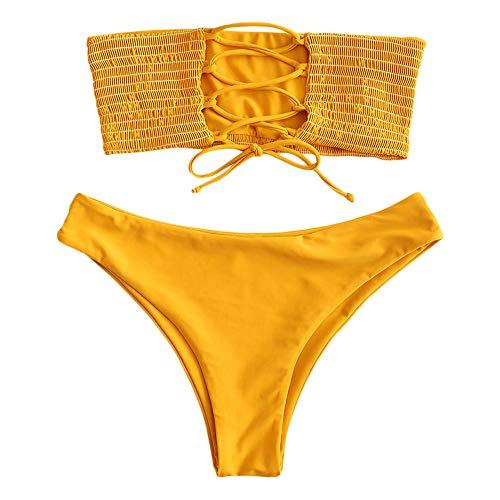 (ZAFUL Women's Bathing Suit Adjustable Back Lace-up Bandeau Bikini Set (L, Bee Yellow-Shirred))