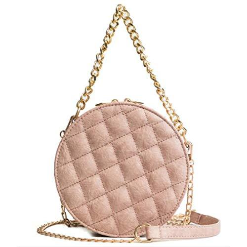Circular Pu Pink Cuero Pink color De Houyazhan Bolso Bandolera Mujer Mano Espalda UwaEFqS