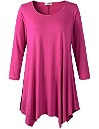 Women Plus Size 3/4 Sleeve Tunic Tops Loose Basic Shirt
