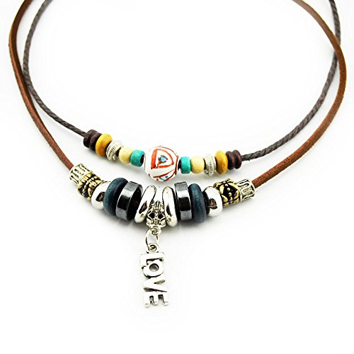 Wild Wind (TM) Christmas Love Pendant Two-Strand Exotic Beaded Adjustable Unisex Choker ()