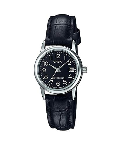 Casio #LTP-V002L-1B Women's Standard Analog Leather Band Black Dial Date Watch
