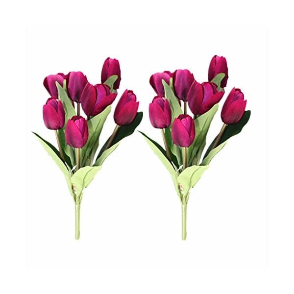 Mynse 2 Bunchs 9 Heads Fake Silk Tulips Flower for Home Furnishing Living Room Decoration Shooting Props Artificial Tulips Flower Bouquet Purple