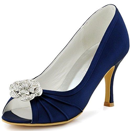 ElegantPark EP2094AF Mujer Peep Toe Plisado AF Desmontable Zapatos Clips El tacón alto Satén Noche Zapatos de Baile Azul Marino