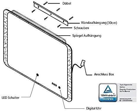 Energieklasse A+ LED Licht Touch Schalter IP44 ALLDREI Badspiegel mit Beleuchtung AD25A Antibeschlag Badezimmerspiegel mit Digitale Uhr Wei/ß Lichtfarbe Waagerecht Montage 70 x 50 cm