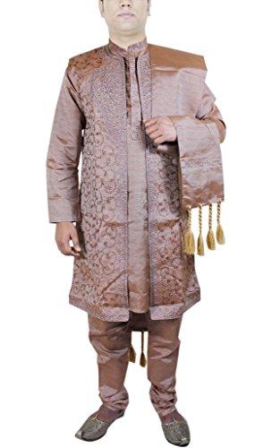 Kurta Pajama for Wedding Mens Dress Brown Indian Art Silk...