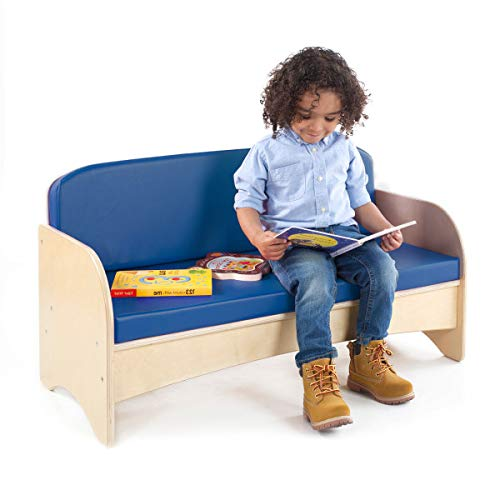 Guidecraft Children's Wooden Reading Couch with Blue Cushion - Durable Classroom Playroom Furniture