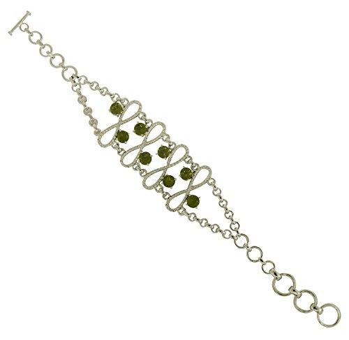 Eleganant Natural Peridot Gemstone 925 Sterling Silver Bracelet For Beautiful Girl