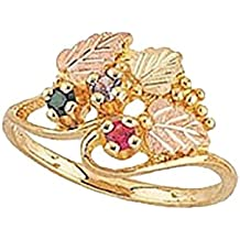Black Hills Gold Silver Mother's Ring - 3 stones - MR925