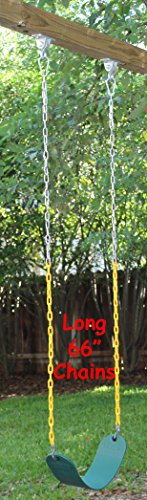 """Jungle Gym Kingdom Swing Seat Heavy Duty 66"""" Chain Plastic Coated - Playground Swing Set Accessories Replacement with Snap Hooks (Green)"""