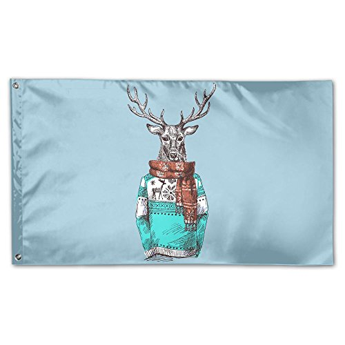 YUANSHAN Home Garden Flag Cool Deer Wear Scarf Polyester Flag Indoor/Outdoor Wall Banners Decorative Flag Garden Flag 3' X 5' ()