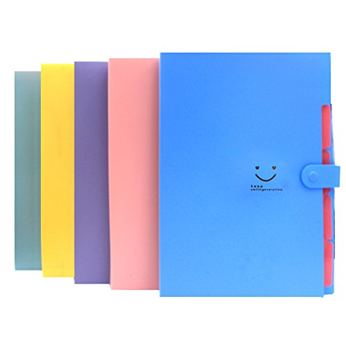 Expanding Files Box Accordion Folder - 5Pack 5 Pockets Plastic Accordian File Organizer A4 Letter Size Snap Closure Paper Organize Bag and Labels Poly Expanding File - Poly Paper Labels
