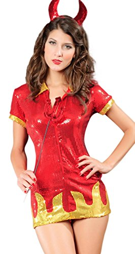 Medusa Costume Uk (IF FEEL Women Halloween Sexy Charming Angel And Devil Dress Costume Set (One size, Red))