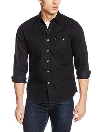 Levi 39 s men 39 s barstow western pocket shirt black x large for Mens black levi shirt