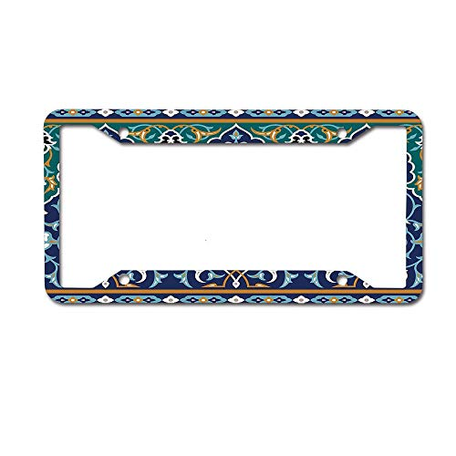 MichelleSmithred Moroccan Ethnic Oriental Style Figures and Petals Hippie Tribal Mosaic Blue Mustard License Plate Frame Aluminum Car tag Cover 4 Holes and Screws for US and Canada