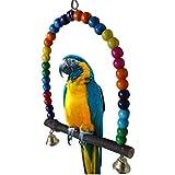 Parrot Swing, Pet Bird Parakeet Hammock with Bells Budgie Cockatiel Cage Hanging Toy
