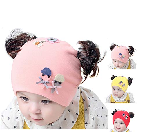 BriStory Newborn Baby Cotton Knitted Hat, Warm Infant Cap Beanie with Cute Wig Flower for 0-12 Months Girls - 3 - Hat Infant Knitted Pattern